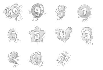 sketch concept celebration baloon countdown tutorial