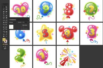 Selection Duplicate Blending Mode Multiply Arrange Balloons