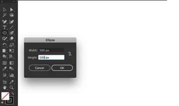 ellipse dialog box set width height pixels