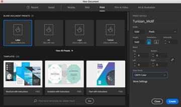 Create New Document Tunisian Motif Pixels