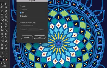 object expand appearance dialog box create shapes