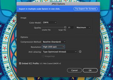 JPEG Options use artboards export resolution high