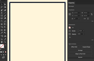Use properties panel set stroke width height
