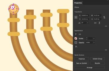 ellipse tool set width height group together 3 ellipses