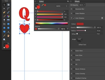 enable snapping and add heart with inner shadow effects and radius set