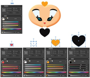 create nose neck body and headpiece with heart and ellipse tool