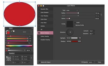create ellipse layer effects panel set emboss type radius and shadow