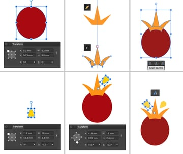 use ellipse pen nodes and tear tool to create crown
