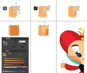 create thumb thru rectangle tool and paalm from rounded rectangle tool group and move