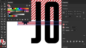 Set Diagonal pattern swatches and rectangle tool