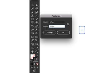create rectangle dimensions dialog box black stroke