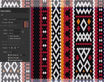 create new pattern object pattern make set grid width height and overlap