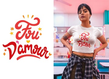 final fou damour french crazy in love france tshirt design by miss chatz