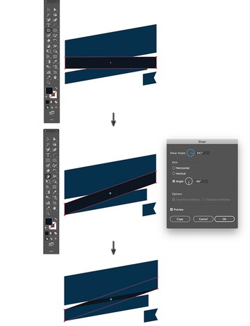 create rectangle with rectangle tool slant object transform shear and send to back