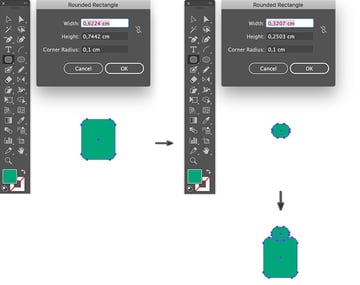 use rounded rectangle tool to create sweater collar and body
