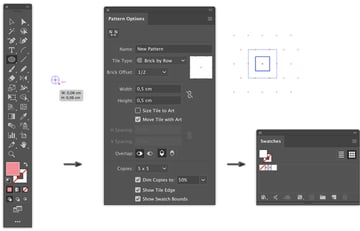 ellipse tool make shape swatches panel width height pattern make object pattern make