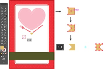 create  ribbon from rectangle tool moce anchor point reflect tool group and align horizontally
