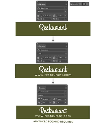 add type using point text and bounding box restaurant website and booking lyer templates flyer design how to make a flyer event flyer menu template