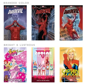 How to choose color palette for comic book cover work with bright and lustrous colors limited contrast bold colors negative space or contrast color
