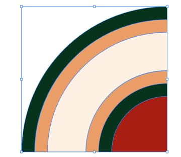 group segments circles to create circle intertwined islamic pattern