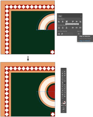 Align Object horizontal right Artboard from Align Panel Reflect Tool