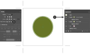 apply stroke inside outside beer label design in appearance panel