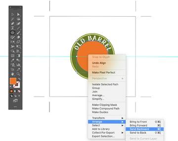 richt click arrange send to back ellipse adobe illustrator