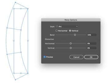 object envelope distort make with warp arc bend vertical