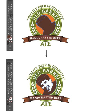 use knife to cut head shape adobe illustrator custom beer label design