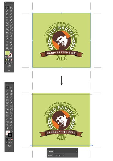use line segment tool to create black lines on background beer custom label design