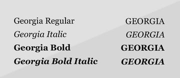 georgia font weights and style regular italic bold