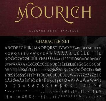 Mourich Elegant Serif Font OpenType beautiful ligatures