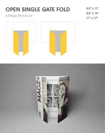 single gate fold design brochure format style mockup