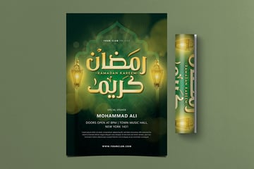 Emerlad colored Ramadan Kareem Flyer available in PSD from envato elements