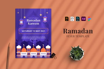 this ramadan kareem flyer template is illustrated, colorful and available in various design formats
