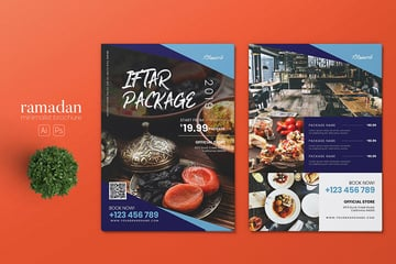 A double sided ramadan iftar flyer design template for restaurants or advertising events