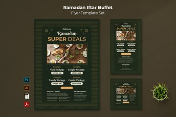 A ramadan iftar buffet flyer template set perfect option for menus and marketing promotions