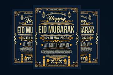 eid mubarak flyer oriental retro style download envato elements
