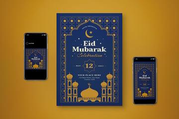 An eid mubarak ramadan flyer design template with Instagram posts