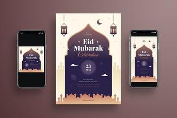 An eid mubarak flyer media kit set of a flyer and instagram posts