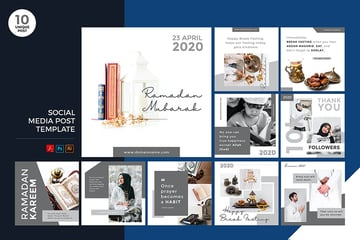 A Ramadan Kareem social media kit with Instagram posts in 10 quality designs on envato elements