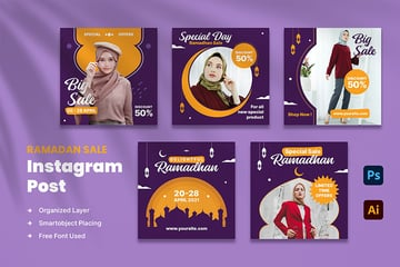 A Ramadan Sale Instagram post template kit download from Envato elements