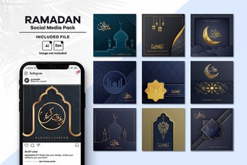 A business like ramadan social media post instagram template kit on envato elements