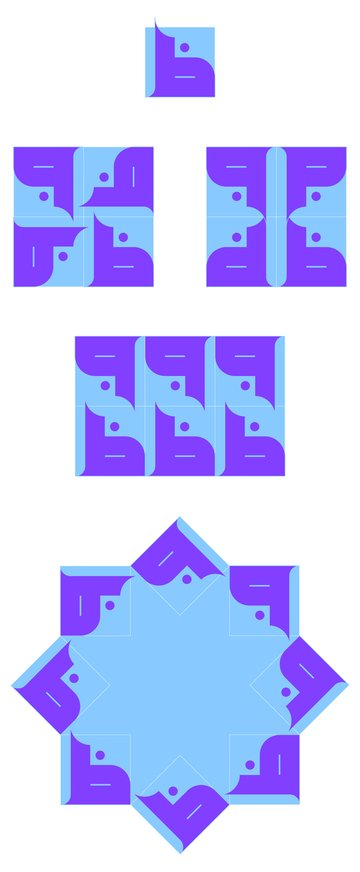 Arabic Calligraphy Ornaments Tutorial Possibilities of square tiles