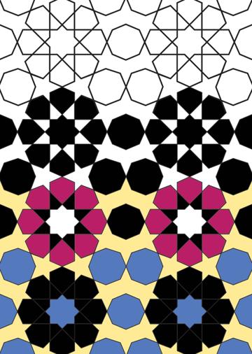 Rosette in rectangle coloured