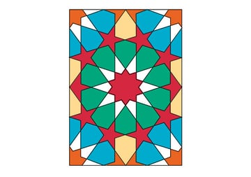 Tenfold Star in a Rectangle coloured
