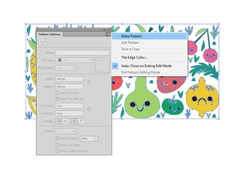 Open the Pattern Options panel