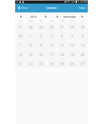 calendar page add calendar days styling