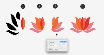 drawing flower with reflect options for symmetry