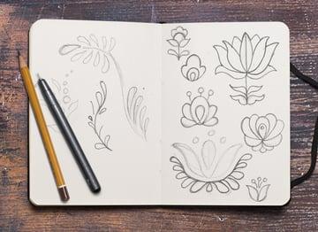Folk art research sketches
